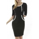 Women's Navy Style Contrast Half Sleeve Slim Bodycon Pencil Dress
