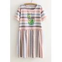 Popular Cute Round Neck Short Sleeve Plaid Smock Dress