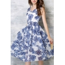 V-Neck Sleeveless Floral Print Swing Chic Dress