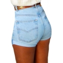 Women Fashion Sexy High Waist Curling Jeans Mini Shorts