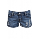 Women's Faded Ripped Pocket Casual Slim Jean Shorts