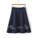 Women's Zip Waist Embroidered Swing Midi Skirt