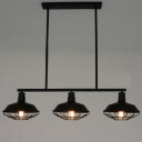 Three Light Wrought Iron Black Industrial LED Linear Island Pool Table Pendant Light with Cage