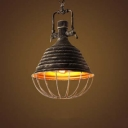 Vintage Cage Style 1 Light Hanging Indoor LED Pendant with Metal Cage