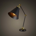 Industrial Style 1 Light Adjustable LED Table Lamp in Black with Cone Shade