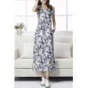 Vintage Sweet Sleeveless Round Neck Floral Print Maxi Dress