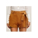 New Arrival Tie Waist Suede Shorts with Pockets