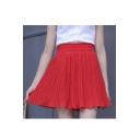 Chic Wide Leg Women Pleated Chiffon Culotte Loose Shorts