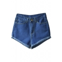Women's Juniors Vintage Denim High Waisted Folded Hem Jeans Shorts