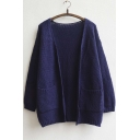 Women's Front Pocket Plain Cardigan
