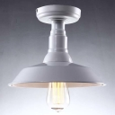 Pot Cover Semi Flush Ceiling Light Industrial Single Light Ceiling Mount Light in White
