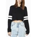 Women's Casual Striped Long Sleeve Crop Top Sweatshirt