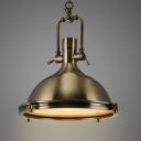 Nautical Pendant Light in Antique Bronze with Frosted Diffuser