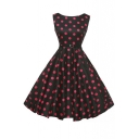 Sleeveless Vintage Polka Dot Fit & Flare Dress with Belt