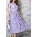 Sweet Round Neck Cap Sleeve Flower Applique Beading A-Line Maxi Dress