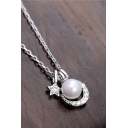 Shining Pearl Star Moon Pandent Chic Silver Women Necklace