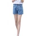 Women's Button Crimping Pocket Washed Blue Denim Shorts