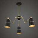 Modern 3 Light 1 Tier LED Chandelier with Black Empire Shade in Gold Finish