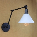 Industrial Adjustable LED Wall Lamp with White Cone Shade