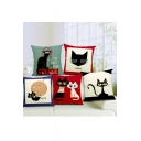 Cute Cartoon Cat Personality Heavy Pound Of Cotton And Linen Sofa Pillowslip