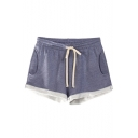 Women's Drawstring Waist Heathered Casual Lounge Jogger Shorts