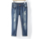 Fashion Women Frayed Jeans Slim Denim Pants
