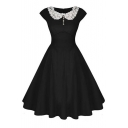 Women's Vintage Floral 1920s Rockabilly Fit & Flare Cocktail Party Dress