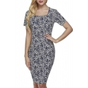 Womens Short Sleeve Printed Business Office Work Fitted Stretch Bodycon Dress