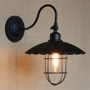 Vintage Black LED Wall Sconce with Scalloped Floral Edge in Cage Style