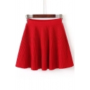 Chic Plain A-Line Pleated Mini Skirts