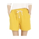Women's Casual Wide Legs Elastic Waist With Drawstring Bermuda Shorts