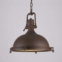 Large Bowl Shape Rust Single Light LED Pendant Lighting in Nautical Style