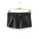 Metal Studded Faux Leather Black Hot Shorts