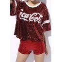 Women's All Over Sequins Solid Color Glitter Shorts