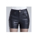 Women's Zipper Closure Faux Leather Shorts
