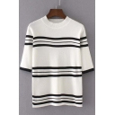 Stripes Color Block Round Neck Half Sleeve Sweater