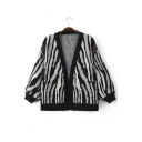 Women's Zebra Stripe Long Sleeve Cardigan