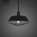 Fourteen Inches Wide Full Sized Single Light Industrial Cage LED Hanging Pendant Lighting