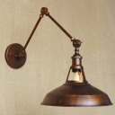 Industrial 1 Light Adjustable LED Wall Sconce in Antique Copper Finish