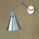 Single Light Down Lighting Industrial Chrome LED Wall Light Adjustable