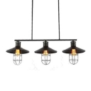Industrial Style Three Light Billiard Kitchen LED Island Light in Black Finish