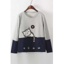 Cute Sleeping Cat Print Loose Fit Sweatshirt