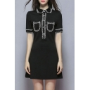 Women's Lapel Accept Waist Cultivate One's Morality Show Thin Dress