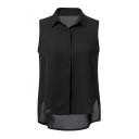 Fashion Lapel Plain Sleeveless High Low Hem Blouse