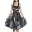 Halter 50s Rockabilly Polka Dots Audrey Dress Retro Cocktail Dress