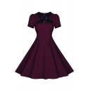 Vintage Swing Midi Dress-Women 1950s Vintage Knee Length Party Cocktail Dress