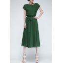 Lady Chiffon Vogue Evening Long Casual Dress with Belt