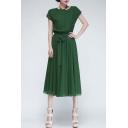 Lady Chiffon Vogue Evening Long Casual Dress with Belt