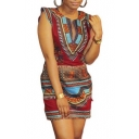 Women Casual Sleeveless Traditional African Printed Dress