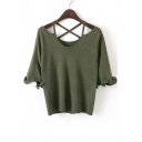 Women Sexy Plain Half Sleeve Chic Knit Tee&Tops